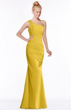 ColsBM Michelle Lemon Curry Simple A-line Sleeveless Chiffon Floor Length Bridesmaid Dresses