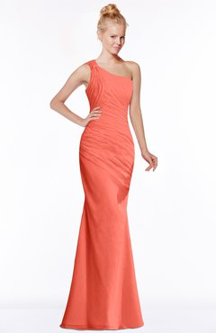 ColsBM Michelle Living Coral Simple A-line Sleeveless Chiffon Floor Length Bridesmaid Dresses