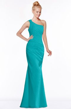 ColsBM Michelle Peacock Blue Simple A-line Sleeveless Chiffon Floor Length Bridesmaid Dresses