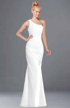 ColsBM Michelle White Simple A-line Sleeveless Chiffon Floor Length Bridesmaid Dresses