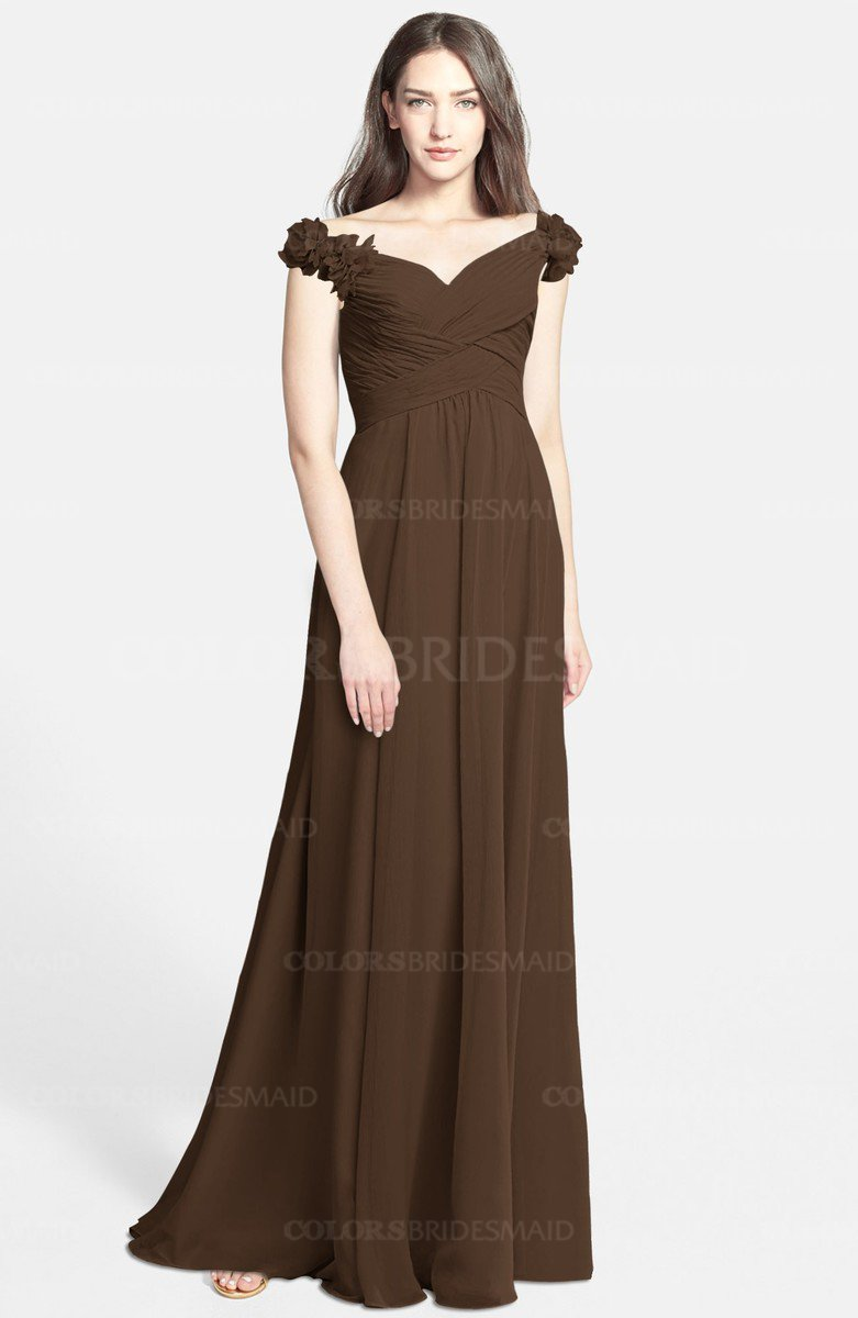 4d6eb4caf0d ColsBM Carolina Chocolate Brown Gorgeous Fit-n-Flare Off-the-Shoulder  Sleeveless