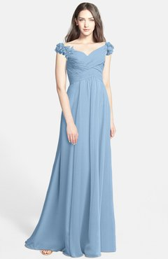 ColsBM Carolina Dusty Blue Gorgeous Fit-n-Flare Off-the-Shoulder Sleeveless Zip up Chiffon Bridesmaid Dresses