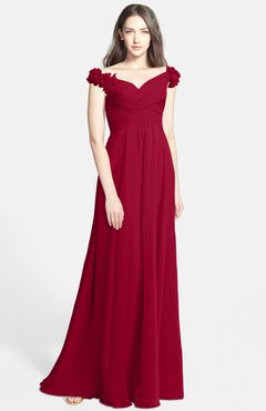 ColsBM Carolina Maroon Gorgeous Fit-n-Flare Off-the-Shoulder Sleeveless Zip up Chiffon Bridesmaid Dresses