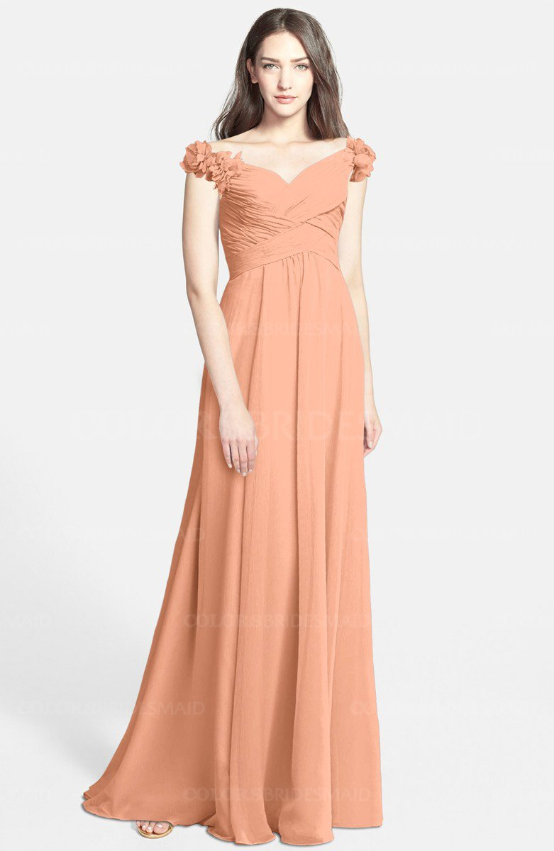 6b1f6740c304fb ... ColsBM Carolina Salmon Bridesmaid Dresses. ColsBM Carolina Salmon  Gorgeous Fit-n-Flare Off-the-Shoulder Sleeveless Zip