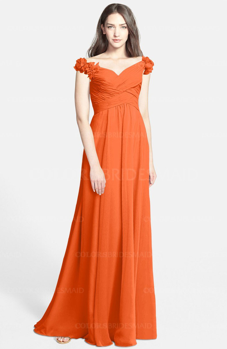 Colsbm Carolina Tangerine Bridesmaid Dresses Gorgeous Fit N Flare Off The Shoulder Sleeveless Zip