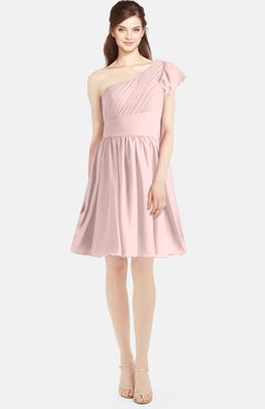 d7891e125626 ColsBM Lynn Pastel Pink Modest A-line One Shoulder Short Sleeve Chiffon  Ruching Bridesmaid Dresses