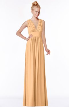 ColsBM Carolyn Apricot Classic V-neck Sleeveless Zip up Ruching Bridesmaid Dresses
