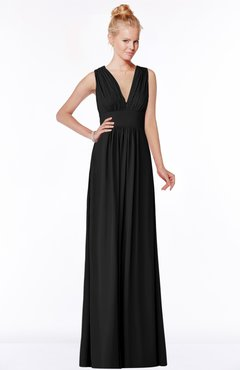 ColsBM Carolyn Black Classic V-neck Sleeveless Zip up Ruching Bridesmaid Dresses