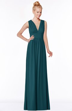 ColsBM Carolyn Blue Green Classic V-neck Sleeveless Zip up Ruching Bridesmaid Dresses