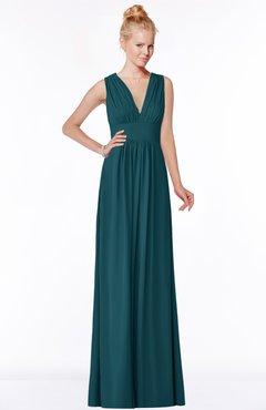 Classic V-neck Sleeveless Zip up Ruching Bridesmaid Dresses
