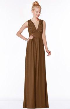 ColsBM Carolyn Brown Classic V-neck Sleeveless Zip up Ruching Bridesmaid Dresses
