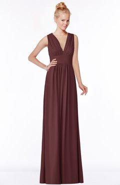 ColsBM Carolyn Burgundy Classic V-neck Sleeveless Zip up Ruching Bridesmaid Dresses
