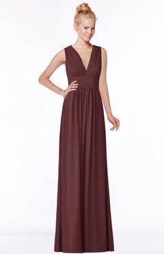 ColsBM Carolyn Burgundy Classic V-neck Sleeveless Zip up Ruching Bridesmaid Dresses