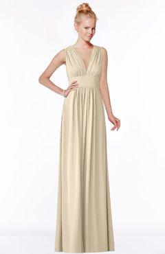 ColsBM Carolyn Champagne Classic V-neck Sleeveless Zip up Ruching Bridesmaid Dresses
