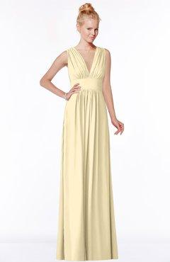 ColsBM Carolyn Cornhusk Classic V-neck Sleeveless Zip up Ruching Bridesmaid Dresses