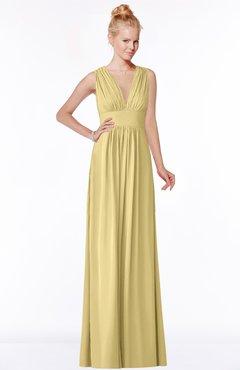 4c4c5a8b2e84 ColsBM Carolyn Gold Classic V-neck Sleeveless Zip up Ruching Bridesmaid  Dresses