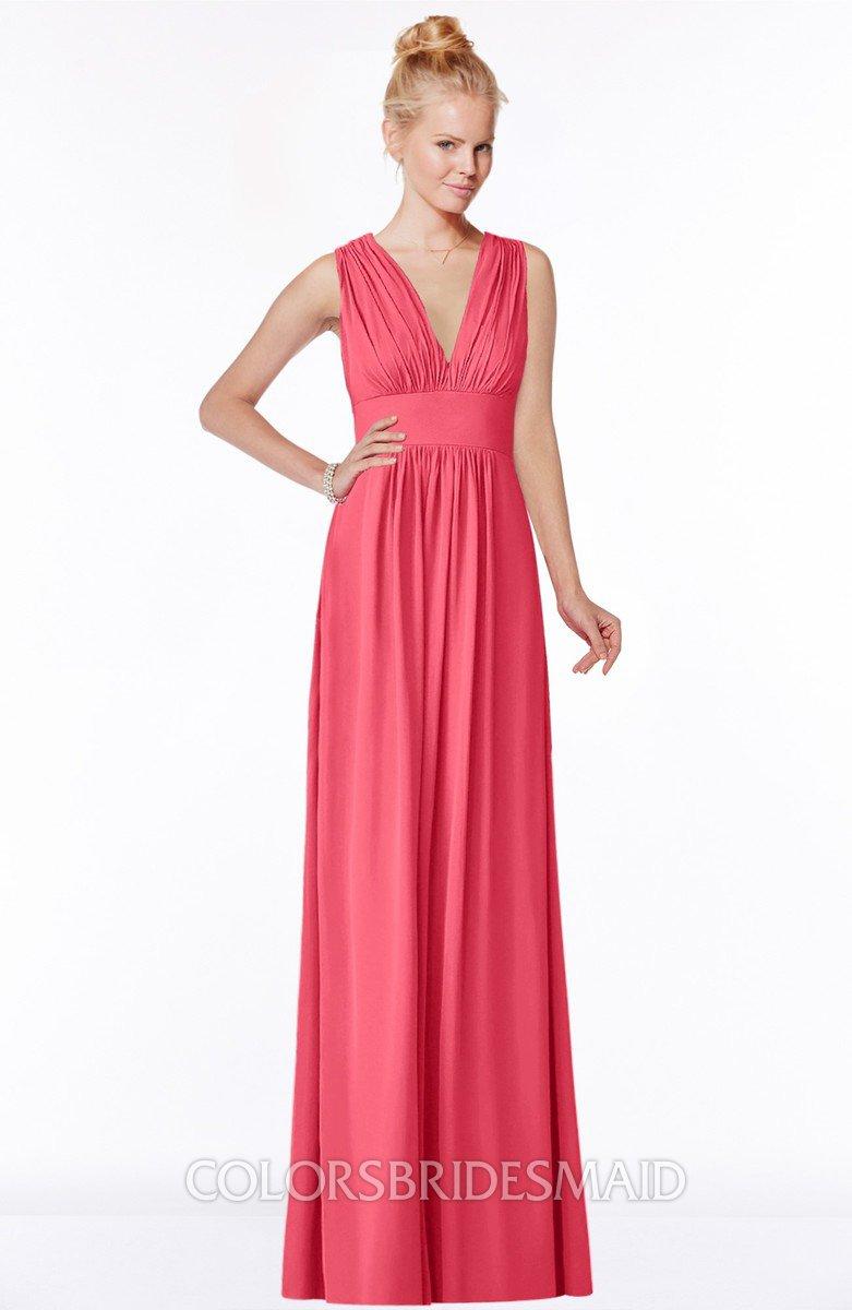 Guava classic v neck sleeveless zip up ruching bridesmaid dresses classic v neck sleeveless zip up ruching bridesmaid dresses ombrellifo Gallery