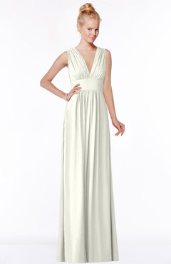ColsBM Carolyn Ivory Classic V-neck Sleeveless Zip up Ruching Bridesmaid Dresses