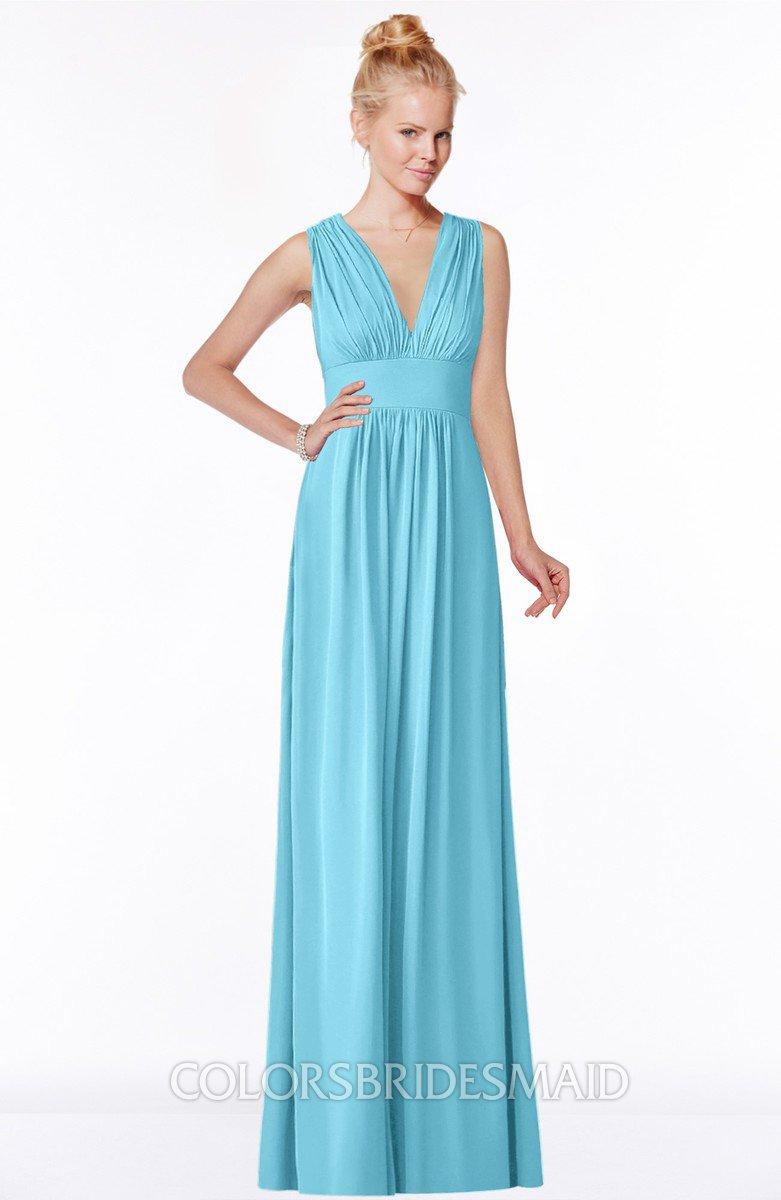 c25319aa145 ColsBM Carolyn Light Blue Classic V-neck Sleeveless Zip up Ruching  Bridesmaid Dresses