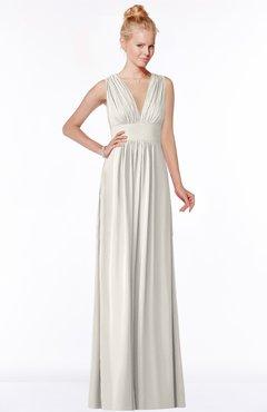 ColsBM Carolyn Off White Classic V-neck Sleeveless Zip up Ruching Bridesmaid Dresses