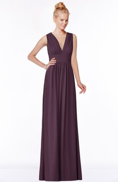 ColsBM Carolyn Plum Classic V-neck Sleeveless Zip up Ruching Bridesmaid Dresses