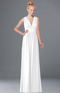 ColsBM Carolyn White Classic V-neck Sleeveless Zip up Ruching Bridesmaid Dresses
