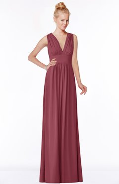 ColsBM Carolyn Wine Classic V-neck Sleeveless Zip up Ruching Bridesmaid Dresses