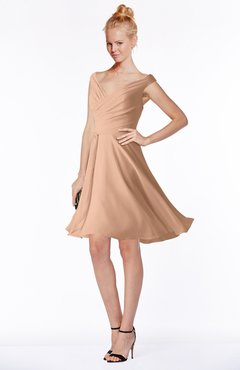 ColsBM Chloe Almost Apricot Classic Fit-n-Flare Zip up Chiffon Knee Length Ruching Bridesmaid Dresses