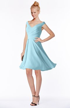 ColsBM Chloe Aqua Classic Fit-n-Flare Zip up Chiffon Knee Length Ruching Bridesmaid Dresses