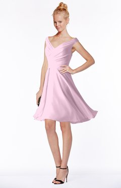 ColsBM Chloe Baby Pink Classic Fit-n-Flare Zip up Chiffon Knee Length Ruching Bridesmaid Dresses