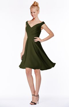 ColsBM Chloe Beech Classic Fit-n-Flare Zip up Chiffon Knee Length Ruching Bridesmaid Dresses