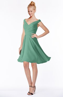 ColsBM Chloe Beryl Green Classic Fit-n-Flare Zip up Chiffon Knee Length Ruching Bridesmaid Dresses