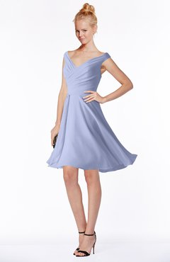 ColsBM Chloe Blue Heron Classic Fit-n-Flare Zip up Chiffon Knee Length Ruching Bridesmaid Dresses