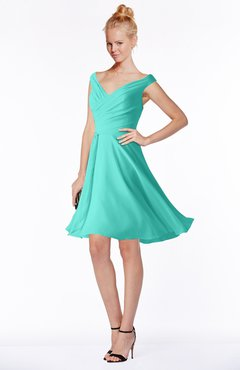 ColsBM Chloe Blue Turquoise Classic Fit-n-Flare Zip up Chiffon Knee Length Ruching Bridesmaid Dresses