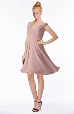 ColsBM Chloe Blush Pink Classic Fit-n-Flare Zip up Chiffon Knee Length Ruching Bridesmaid Dresses