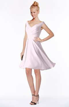 ColsBM Chloe Blush Classic Fit-n-Flare Zip up Chiffon Knee Length Ruching Bridesmaid Dresses