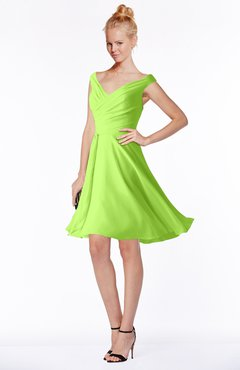 ColsBM Chloe Bright Green Classic Fit-n-Flare Zip up Chiffon Knee Length Ruching Bridesmaid Dresses