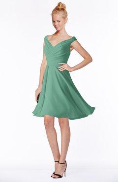 ColsBM Chloe Bristol Blue Classic Fit-n-Flare Zip up Chiffon Knee Length Ruching Bridesmaid Dresses