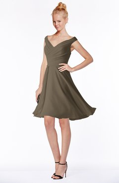 ColsBM Chloe Carafe Brown Classic Fit-n-Flare Zip up Chiffon Knee Length Ruching Bridesmaid Dresses