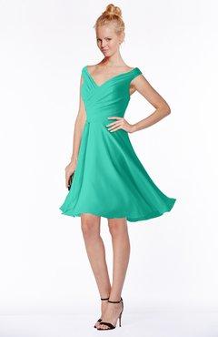 ColsBM Chloe Ceramic Classic Fit-n-Flare Zip up Chiffon Knee Length Ruching Bridesmaid Dresses