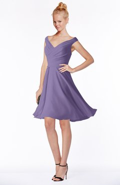 ColsBM Chloe Chalk Violet Classic Fit-n-Flare Zip up Chiffon Knee Length Ruching Bridesmaid Dresses