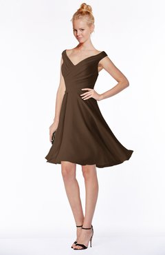 ColsBM Chloe Chocolate Brown Classic Fit-n-Flare Zip up Chiffon Knee Length Ruching Bridesmaid Dresses