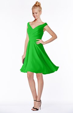 ColsBM Chloe Classic Green Classic Fit-n-Flare Zip up Chiffon Knee Length Ruching Bridesmaid Dresses