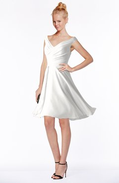 ColsBM Chloe Cloud White Classic Fit-n-Flare Zip up Chiffon Knee Length Ruching Bridesmaid Dresses