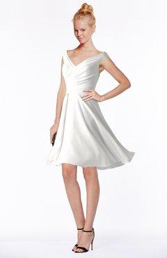 ColsBM Chloe Cloud White Classic Fit-n-Flare Zip up Chiffon Knee Length Ruching Bridesmaid Dresses