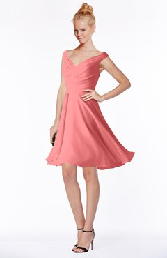 ColsBM Chloe Coral Classic Fit-n-Flare Zip up Chiffon Knee Length Ruching Bridesmaid Dresses