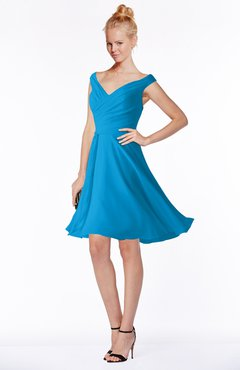 ColsBM Chloe Cornflower Blue Classic Fit-n-Flare Zip up Chiffon Knee Length Ruching Bridesmaid Dresses