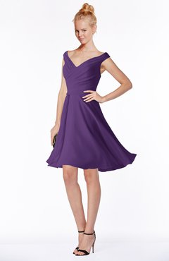 ColsBM Chloe Dark Purple Classic Fit-n-Flare Zip up Chiffon Knee Length Ruching Bridesmaid Dresses