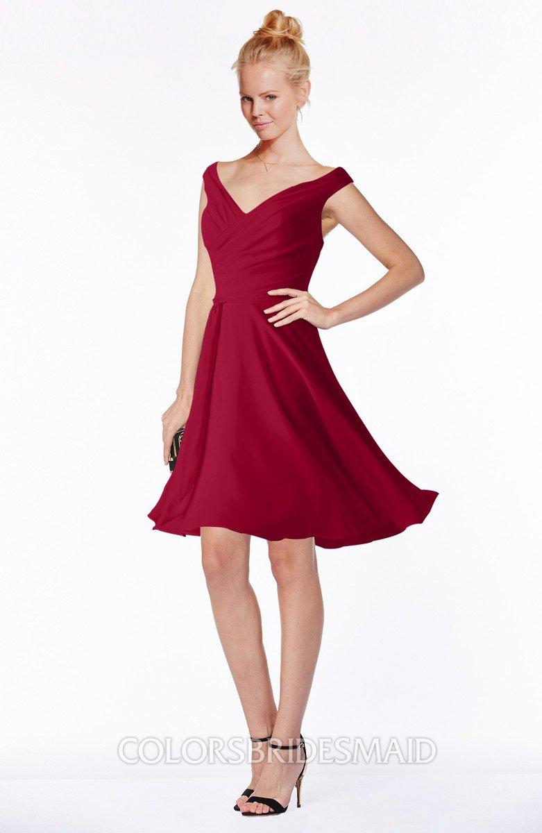c4e77c66cc ColsBM Chloe. Dark Red Classic Fit-n-Flare Zip up Chiffon Knee Length  Ruching Bridesmaid Dresses