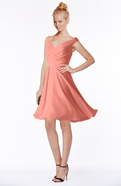 ColsBM Chloe Desert Flower Classic Fit-n-Flare Zip up Chiffon Knee Length Ruching Bridesmaid Dresses